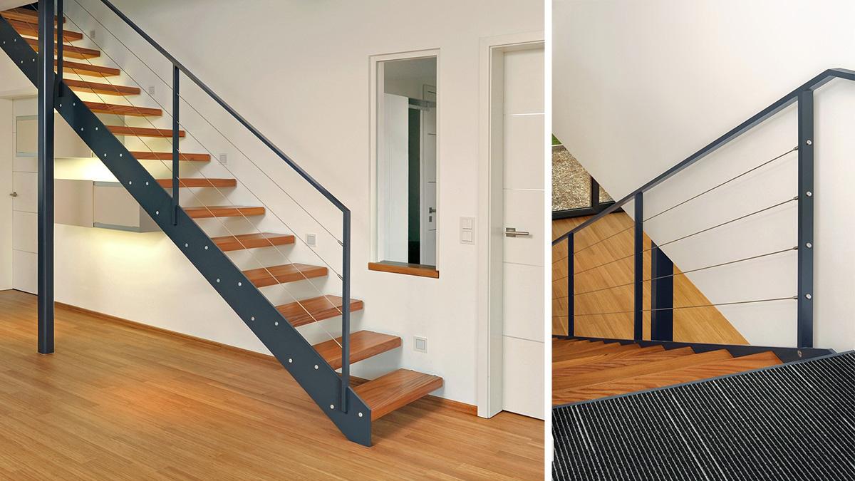 g hler treppen moderne stahlwangentreppe mit holzstufen das fachportal f r den. Black Bedroom Furniture Sets. Home Design Ideas